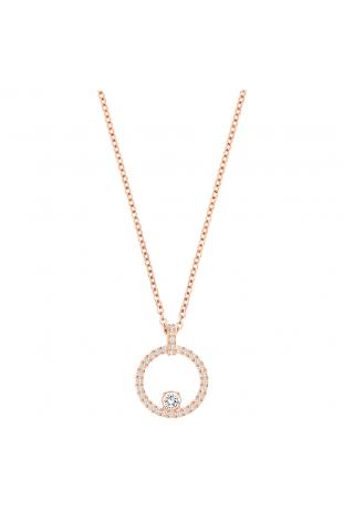 Collier Pendentif Creativity Circulaire, Blanc, Métal doré rose SWAROVSKI 5202446