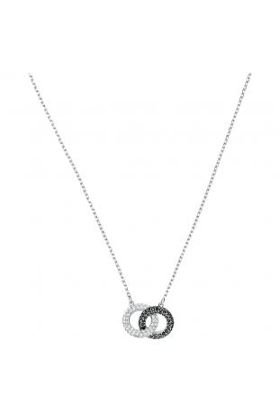 Collier Stone Circulaire, Noir, Métal rhodié SWAROVSKI 5445706