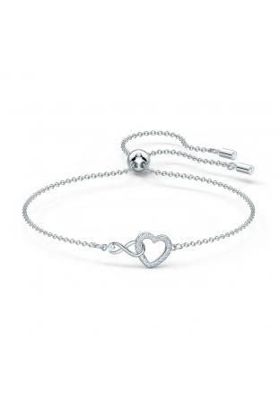 Bracelet Swarovski Infinity Infini et cœur, Blanc, Métal rhodié Swarovski 5524421