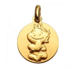 """Médaille or jaune 375/1000 La Fée Galipette """"Rêveur"""" P9035"""